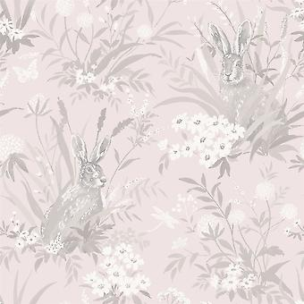 Animal Print Floral Wallpaper Flowers Rabbit Hare Pink Grey Holden Decor Aayla