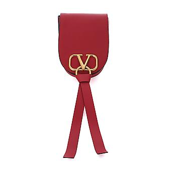 Valentino Vring Red Leather Shoulder Bag