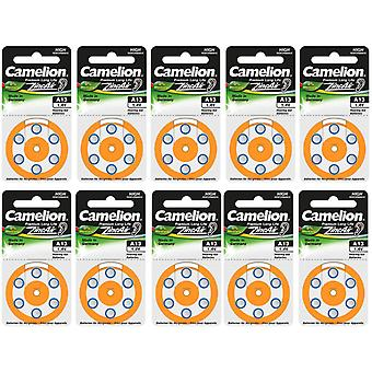 60-Pack Camelion Zink-Luft Hörgerätebatterien 13, A13, PR48, Farbe Orange