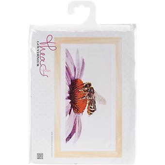Bee On Echinacea On Aida Counted Cross Stitch Kit-17.75