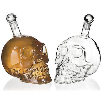 Skull Bottle for Liqueur - 500ml - Skull-Shaped Wine Bottle (Transparent / Clear)- Skull Decanter for Vodka Whisky Cognac