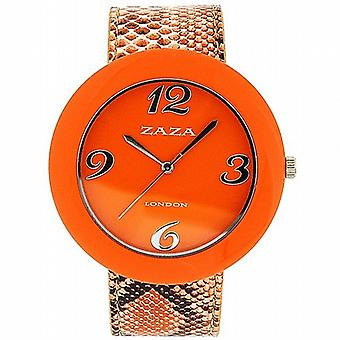 Zaza London Crocodile Effect Orange Pu Strap & Dial Ladies Fashion Watch LLB855