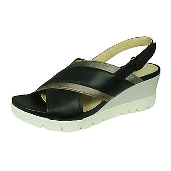 Geox D Marykarmen P.D Womens Open Toe Heeled Leather Sandals - Black