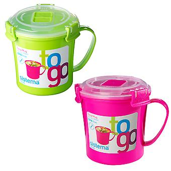 Sistema Set of 2 Soup Mugs, Lime and Pink