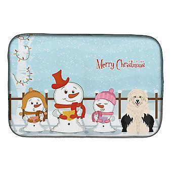 Joyeux Noël chanteurs Old English Sheepdog plat Mat séchage