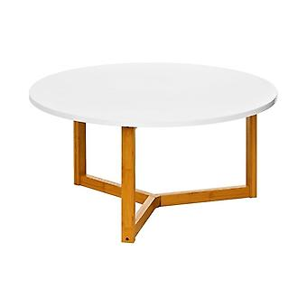 Fusion Living White High Gloss Coffee Table With Bamboo Legs
