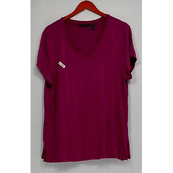 H par Halston Women-apos;s Top Essentials V-Neck w/ Forward Notch Pink A306231