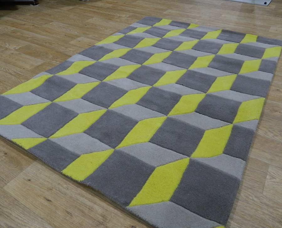 Rugs -Geometric Grey & Zesty Yellow - Geo07