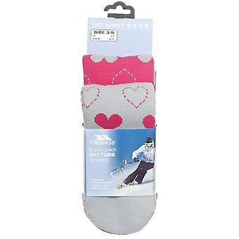 Trespass Ladies Luv Ski Tube Sock 2 Pack Snow Sport Socks