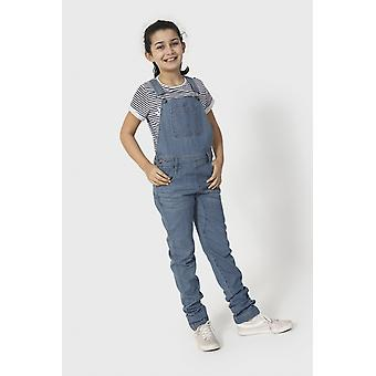 Libby girls slim fit denim dungarees pale wash