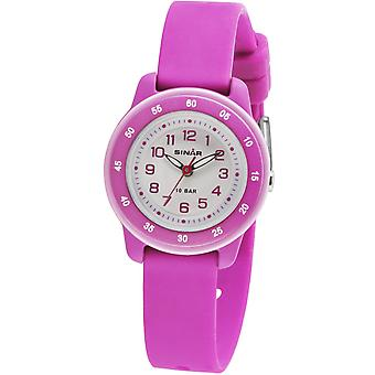 SINAR Jugenduhr Kinder Armbanduhr Analog Quarz Silikonband Mädchen XB-22-8 pink