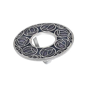 Mackintosh Roses and Annulus Enamel Scarf Ring Gift Boxed - Purple