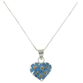 Shrieking Violet Sterling Silver Forget Me Not Flowers Heart Pendant