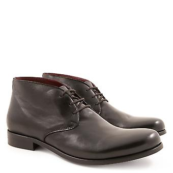 Handmade ankle boots for men in black leather