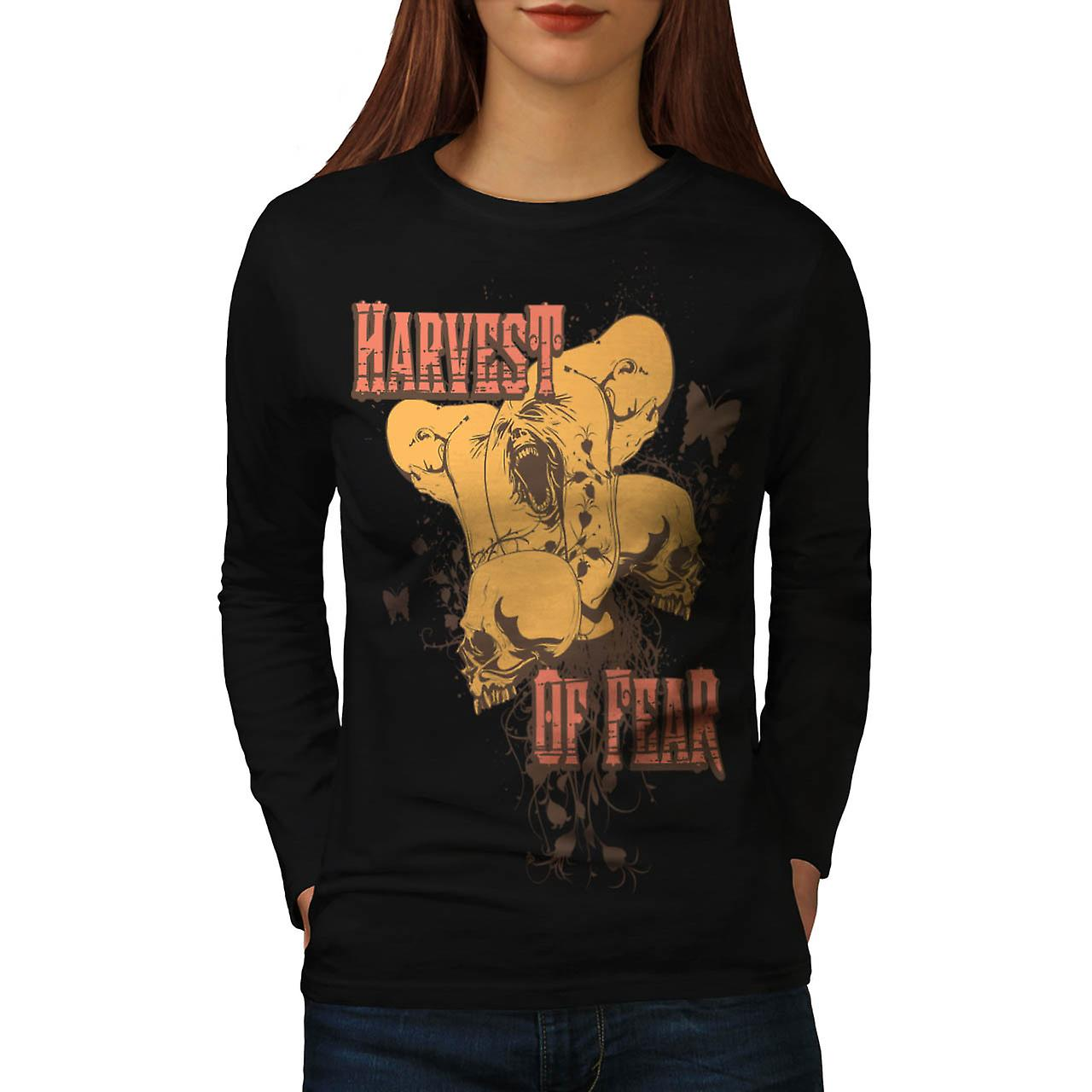 Harvest Of Fear Face Horror Fly Women Black Long Sleeve T-shirt | Wellcoda