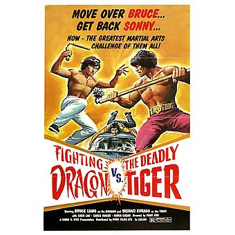 The Fighting Dragon vs Deadly Tiger Movie Poster Print (27 x 40)