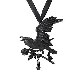 Alchemy Gothic Harbinger Black Raven Ribbon Choker Necklace