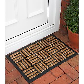 Natural Coir Rubber Back Striped Doormat 40x60cm