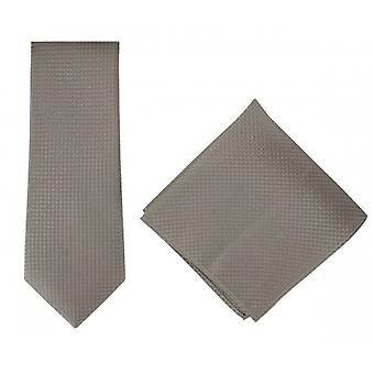 Michelsons of London Textured Geo Silk Tie and Pocket Square Set - Taupe