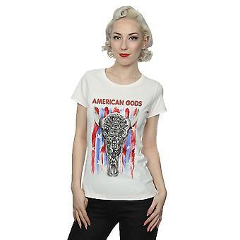 Aftershow kvinders amerikanske guder kraniet Flag T-Shirt