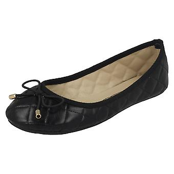 Girls Spot On Flat Quilted Ballerinas H2409