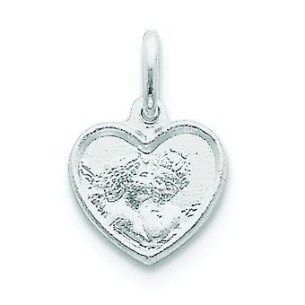Plata esterlina sólida satén pulido Angel grabada en el encanto del corazón - 1,4 gramos