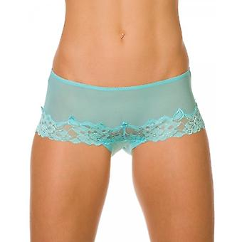 Camille Aqua Sheer Lace Womens Boxer Shorts