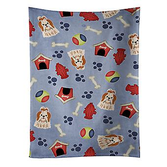 Dog House Collection Shih Tzu Red White Kitchen Towel