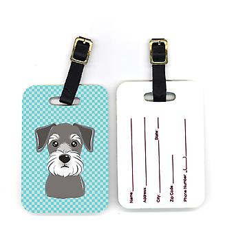 Carolines Treasures  BB1136BT Pair of Blue Checkered Schnauzer Luggage Tags