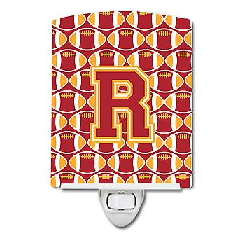 Letter R Football Cardinal and Gold Ceramic Night Light