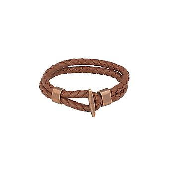Baxter jewelry London leather bracelet braided Brown jewelry clasp bronze 21 cm