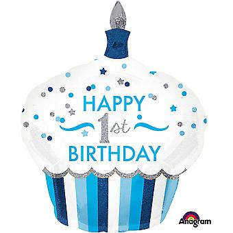 Anagram 1st Birthday Cupcake Boy Supershape Balloon
