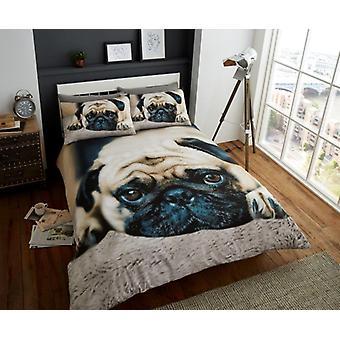 3D söt mops djur Premium Quilt påslakan sängkläder