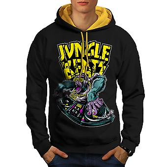 Jungle Beats Base Music Men Black (Gold Hood) Contrast Hoodie | Wellcoda