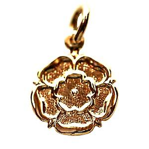 9ct Gold 14mm Tudor Rose of England Pendant or Charm
