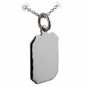 Silver 18x12mm diamond cut edge cut corner rectangular Disc with a rolo Chain 24 inches