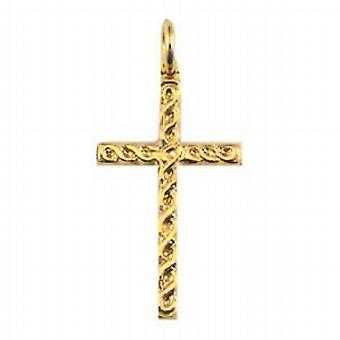 9ct Gold 29x17mm embossed Celtic knot design Cross