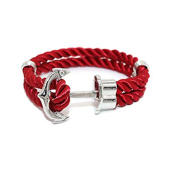 Man in red fabric bracelet and stainless steel anchor