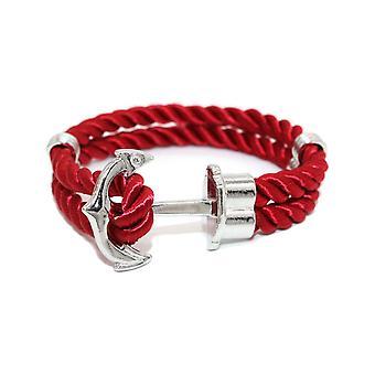 Bracelet Homme en Tissu Rouge et Ancre en Acier Inoxydable