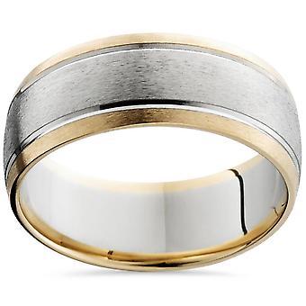 8mm Herren 14K White & Gelb Gold Sandstrahl doppelte Einlage Hochzeitsband