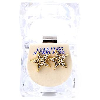 Iced bling caja doble de pendientes - gold STAR