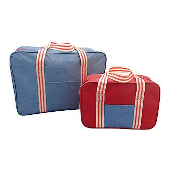 Country Club 2 Pack Cooler Bags, Denim Stripe