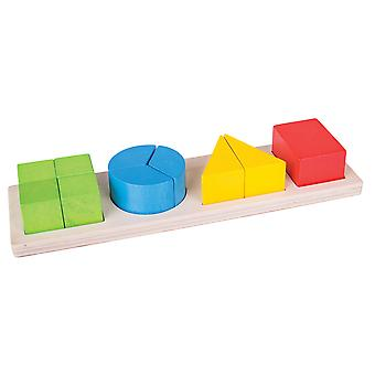 Bigjigs Toys Wooden Shapes Fraction Board Maths Learning Resource
