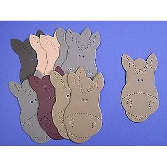 10 Large Horse Faces - Shades of Brown Card | Horse & Pony Kids Crafts