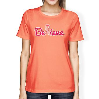 Tro Breast Cancer Womens persika Cancer Support Tee Shirt gåvor
