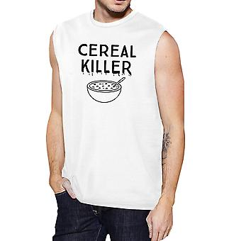 Cereal Killer Tank Top Mens White Funny Muscle Tee Shirt Halloween