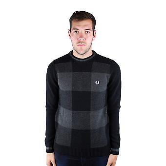 Fred Perry K9525 Patchwork Textured Crew Neck 102 Black