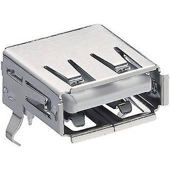 Lumberg 2410 02 toma de conector USB 2.0 horizontal montaje incorporado de acoplamiento tipo A, angular