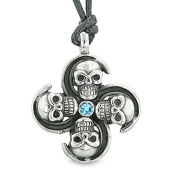 Supernatural Skull Powers Magic All Forces of Nature Amulet Sky Blue Crystal Pendant Necklace