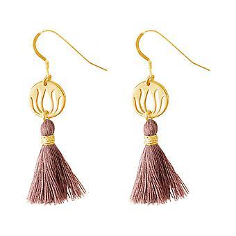 -925 Silver - gold plated - Lotus Flower - YOGA - 4 cm tassel ladies - earrings - earrings - rose-